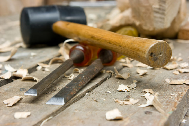 wood carving tools on the workbench