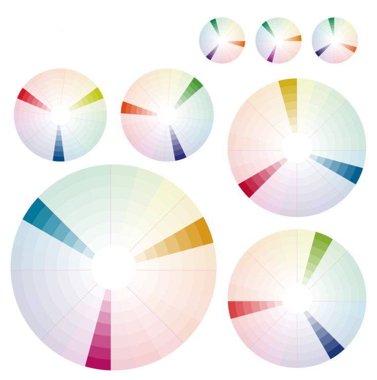 Psychology of color perception. Harmonies of colors. Basic Triadic set. Representation in pie charts with the applicable pallets.