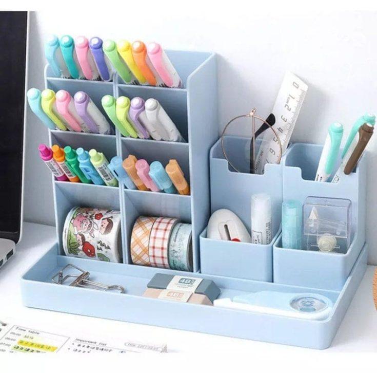 blue plastic office organizer