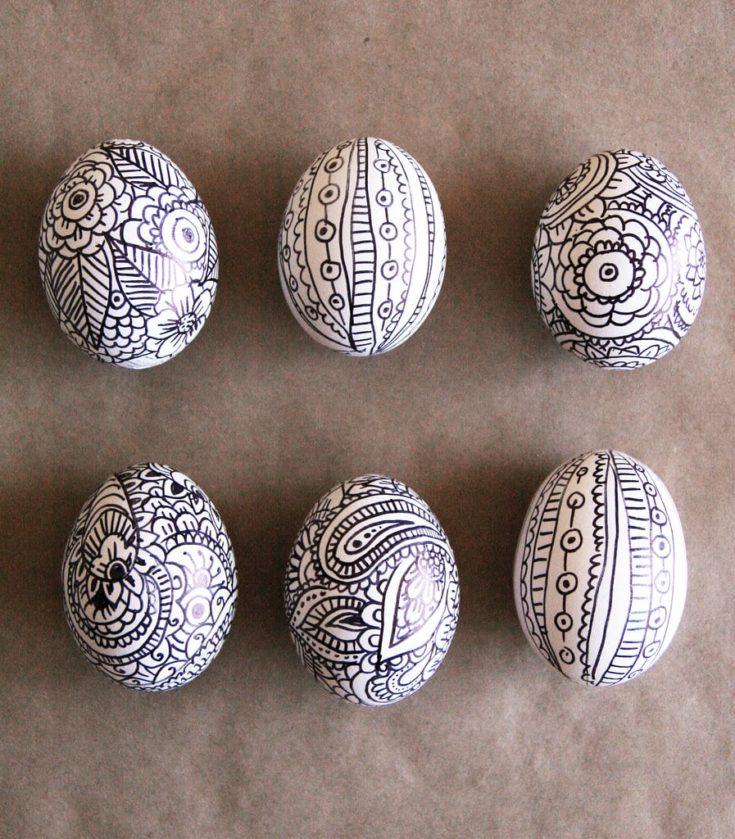 Doodle Easter Eggs - six eggs