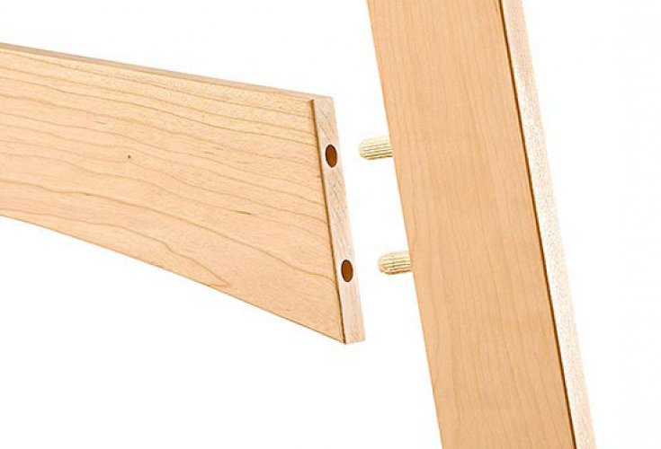 A cylindrical piece that is then inserted into round recesses in both of the connecting pieces of wood.