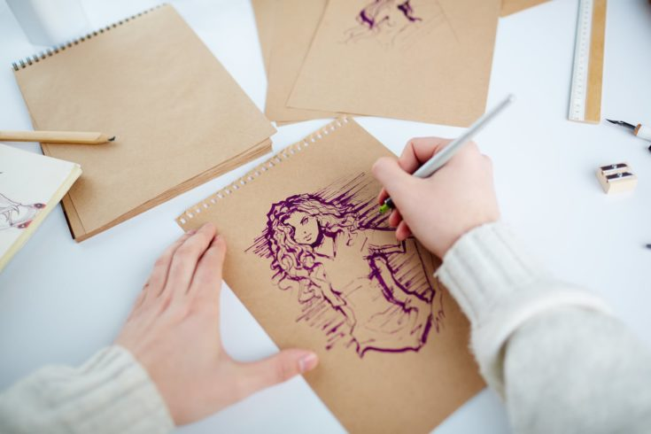 Picture of young female being drawn by man