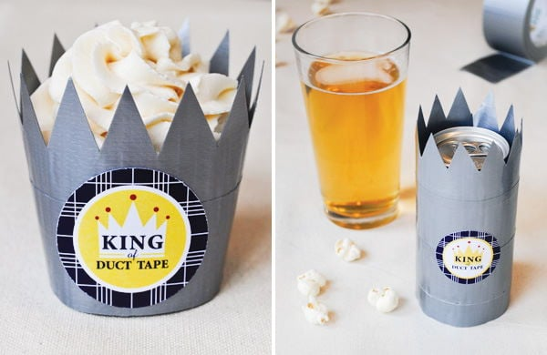 Duct Tape Crown Bowls, pop corn on the table, glass