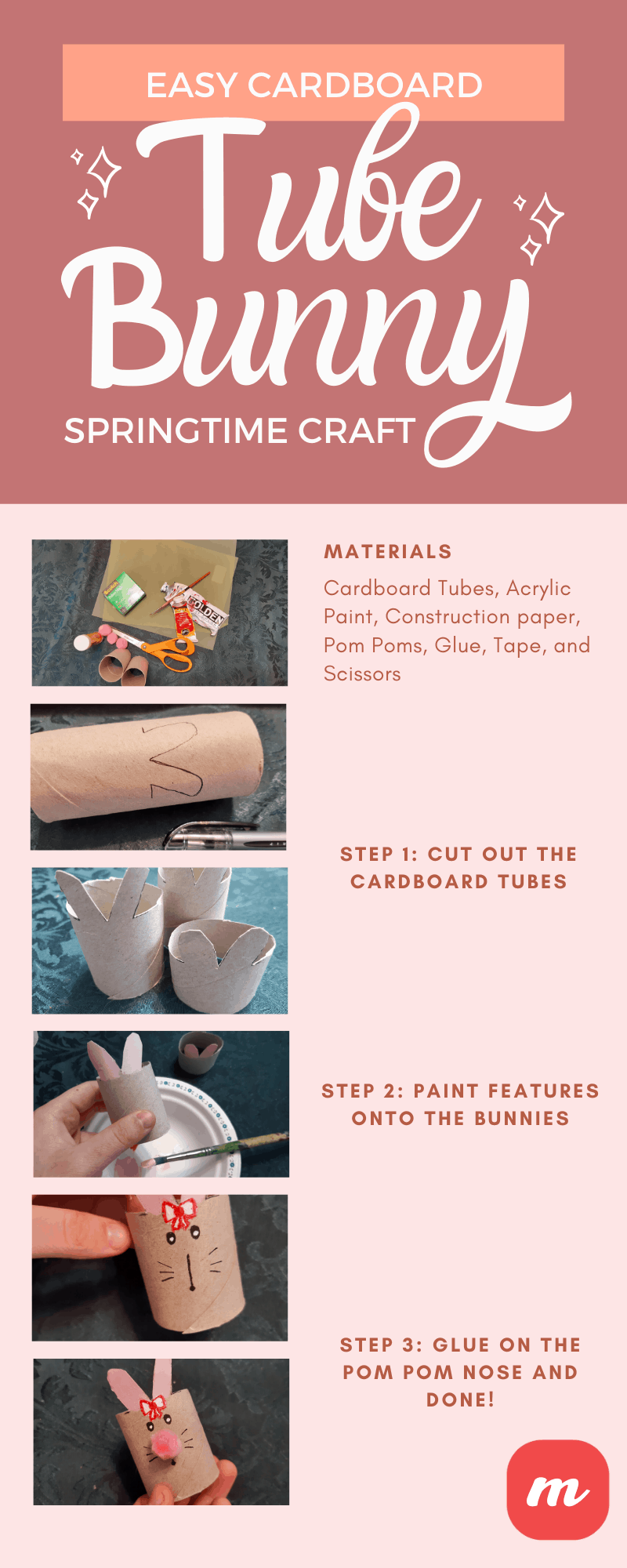 Easy Cardboard Tube Bunny Springtime Craft - Infographic