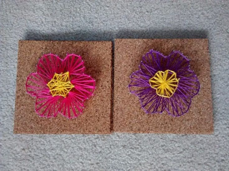 Easy DIY flower string art design.