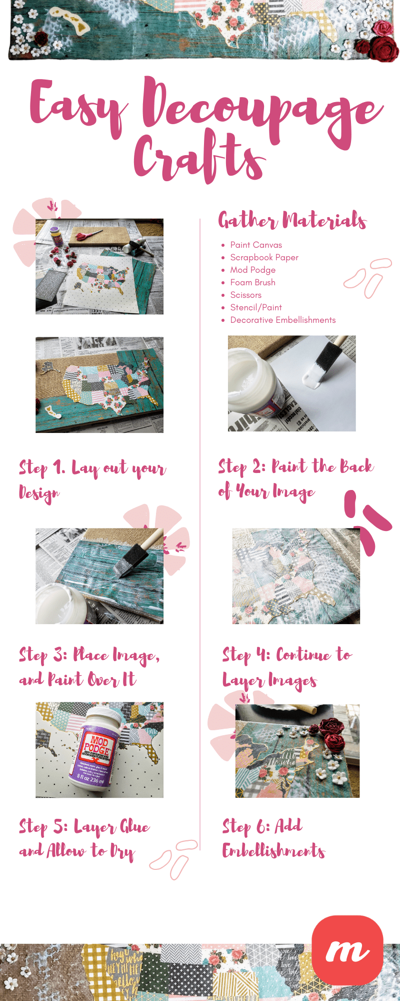 Easy Decoupage Crafts - Infographic