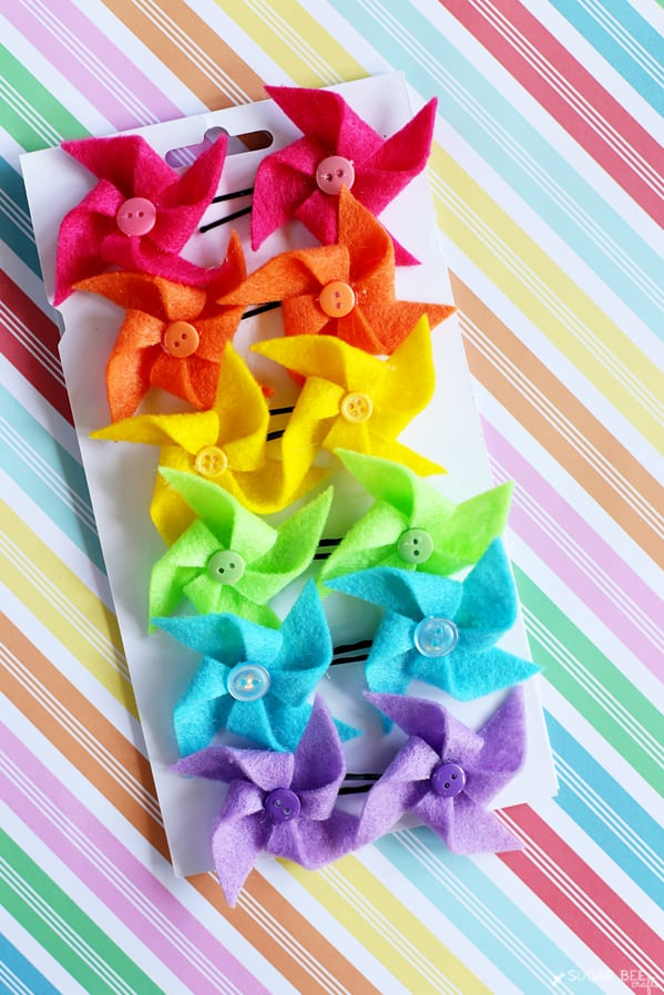 Easy Felt Pinwheels in different colors