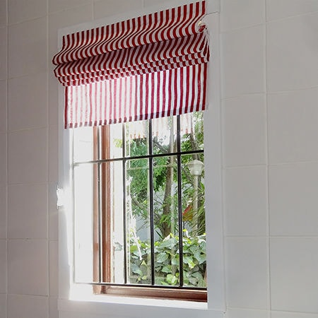 Easy Roman Blinds stripes of red and white
