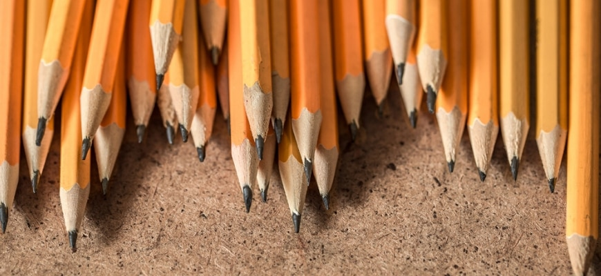 Bunch of yellow graphite pencils