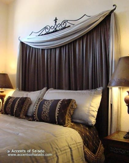 Brown curtain headboard