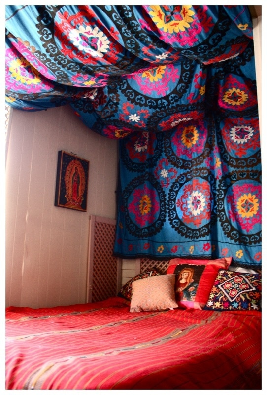 Colorful fabric curtain headboard