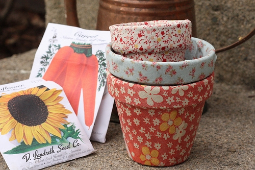 Fabric wrapped terracotta planters