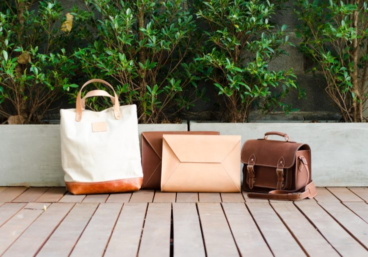 Fashion Leather Bags Collection, Nature Background