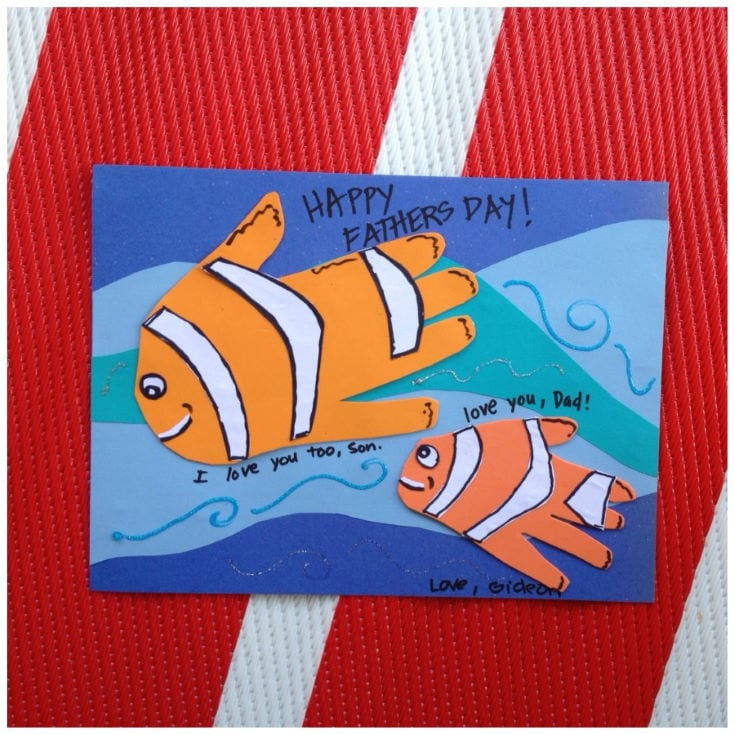 Father and Son Fish Handprints card in red and white stripe background