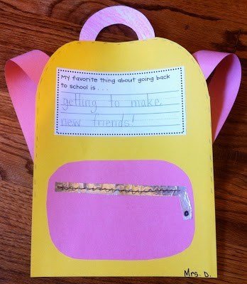 Small writing craft pink and yellow bag.