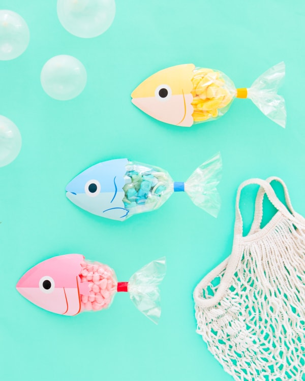 three fish-shaped party favor designs