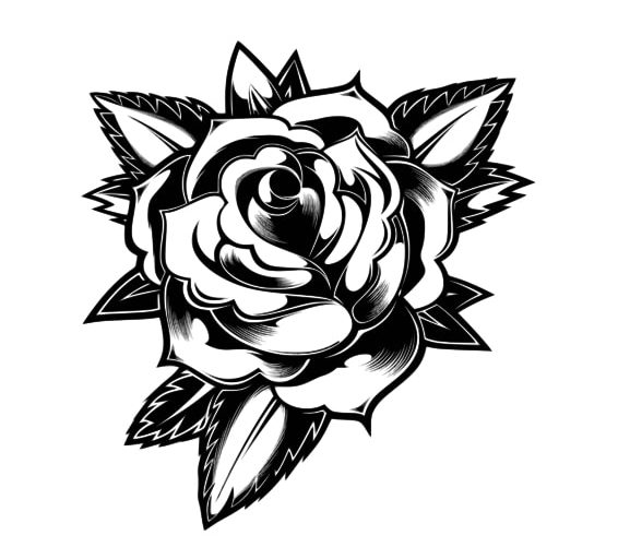 Black and white rose flower pattern for wood carving.