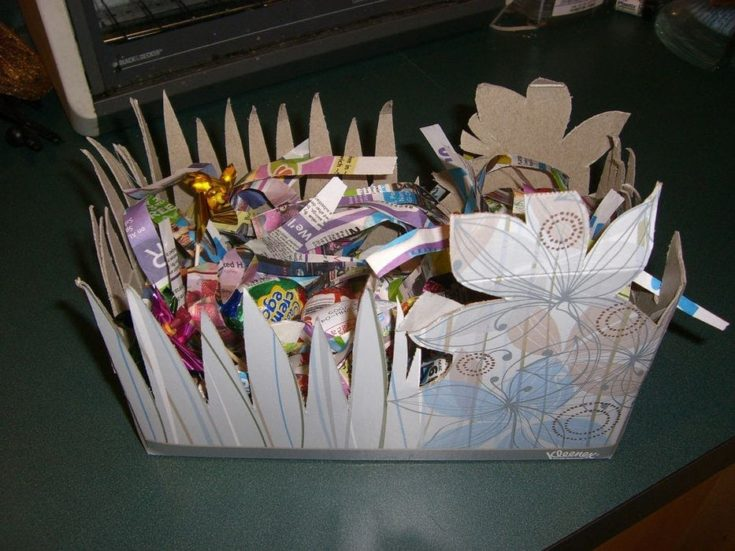 Recycled cardboard made into a compostable basket.