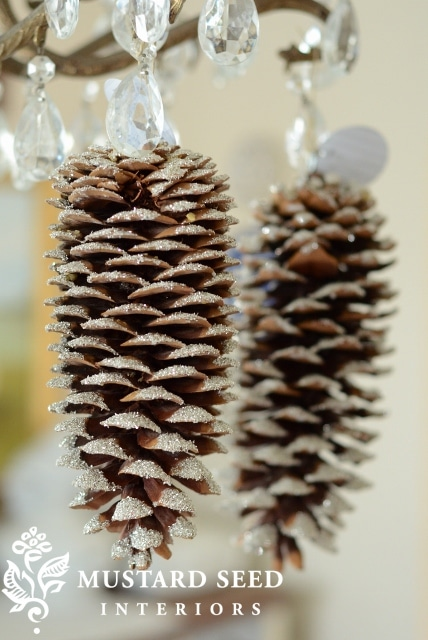 Mustard Seed Interiors Hanging Frosted Pinecones