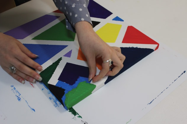 a woman making Fun Canvas Art for Kids