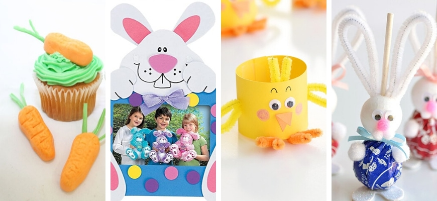 Easter bunnies sample crafts and designs.
