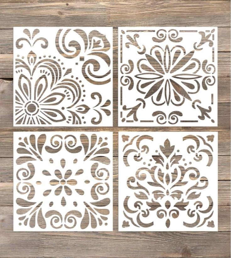 GSS Designs Pack of 4 Stencils Set (6x6 Inch) Laser Cut Painting Stencil Floor Wall Tile Fabric Wood Stencils