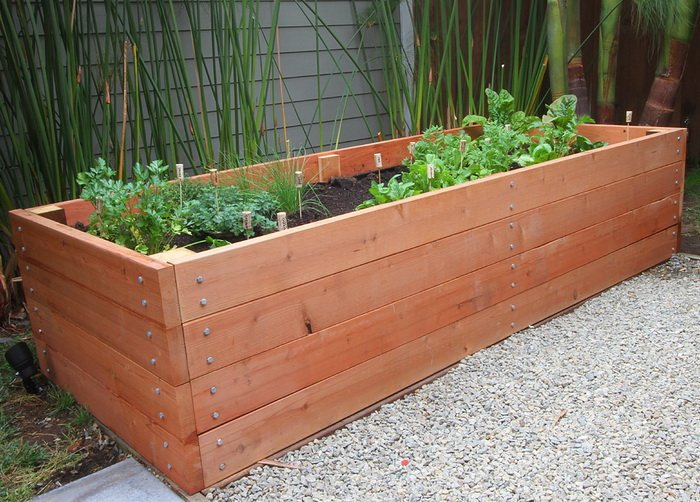 Redwood garden planter box