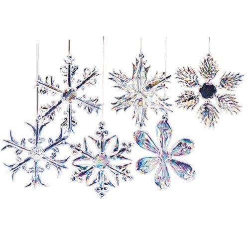 Hanging Glass Iridescent Snowflake Ornaments