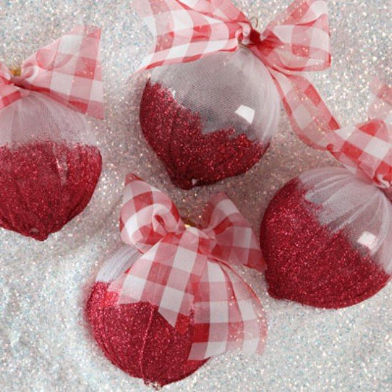 Dipped In Red Glitter Tied with Red and White Plaid Ribbon White Background