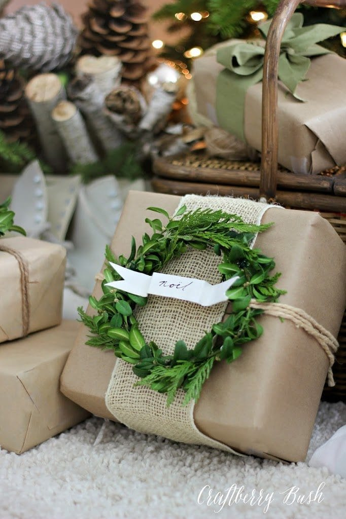 Green wreath on a brown gift wrapping paper by Craftberry Bush