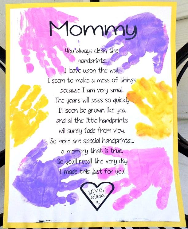 Handprint Poem Poster