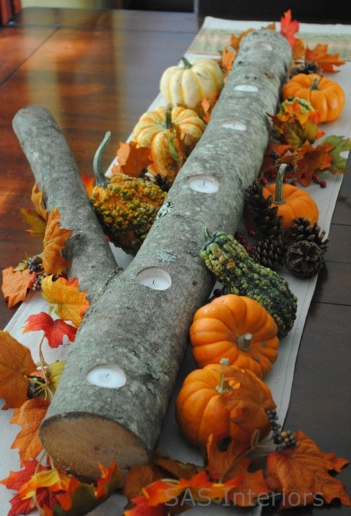 Log thanksgiving table centerpiece