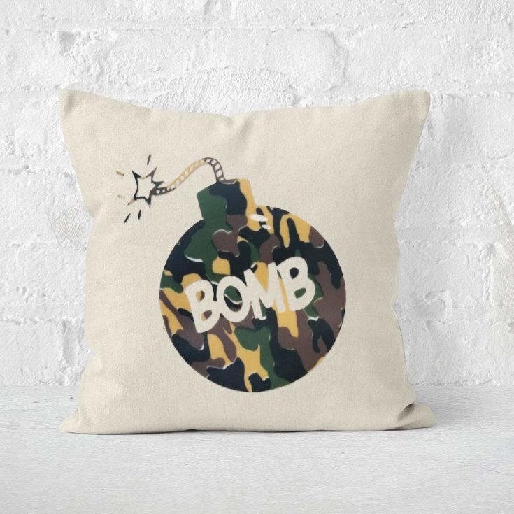 a pillow with Camouflage Pattern Vinyl bomb design