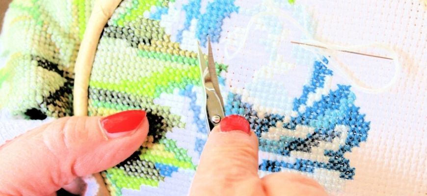 Woman doing embroidery