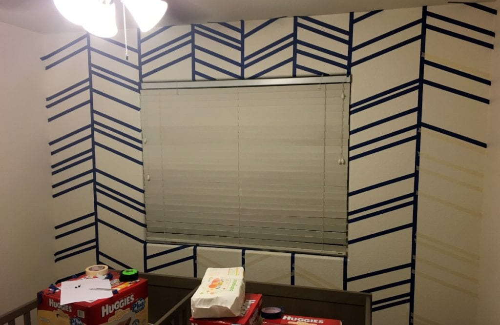Herringbone Accent wall with more lines placed in an angled position.