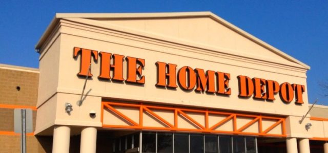 The Home Depot logo in front of building.