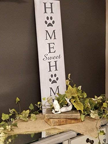 Home Sweet Home - Dog Paw Prints Stencil by StudioR12 | Reusable Mylar Template | Use to Paint Wood Signs