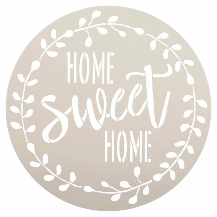 Home Sweet Home Stencil with Laurel Wreath by StudioR12