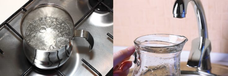 Stainless jug filled with boiling water and a glass jug ready to be filled with tap water on the faucet.