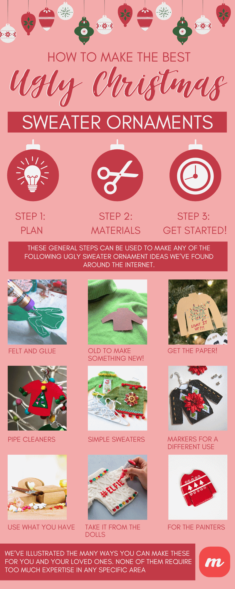 How To Make The Best Ugly Christmas Sweater Ornaments - infographics
