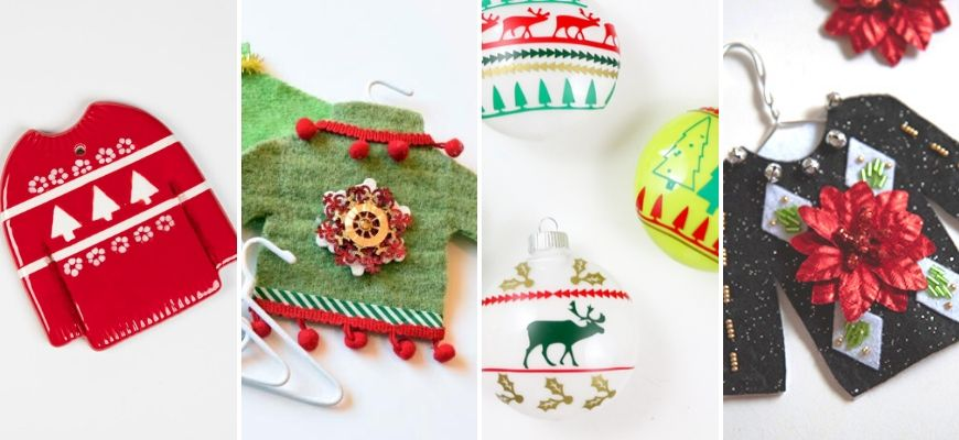 Four different Ugly Christmas Sweater Ornaments