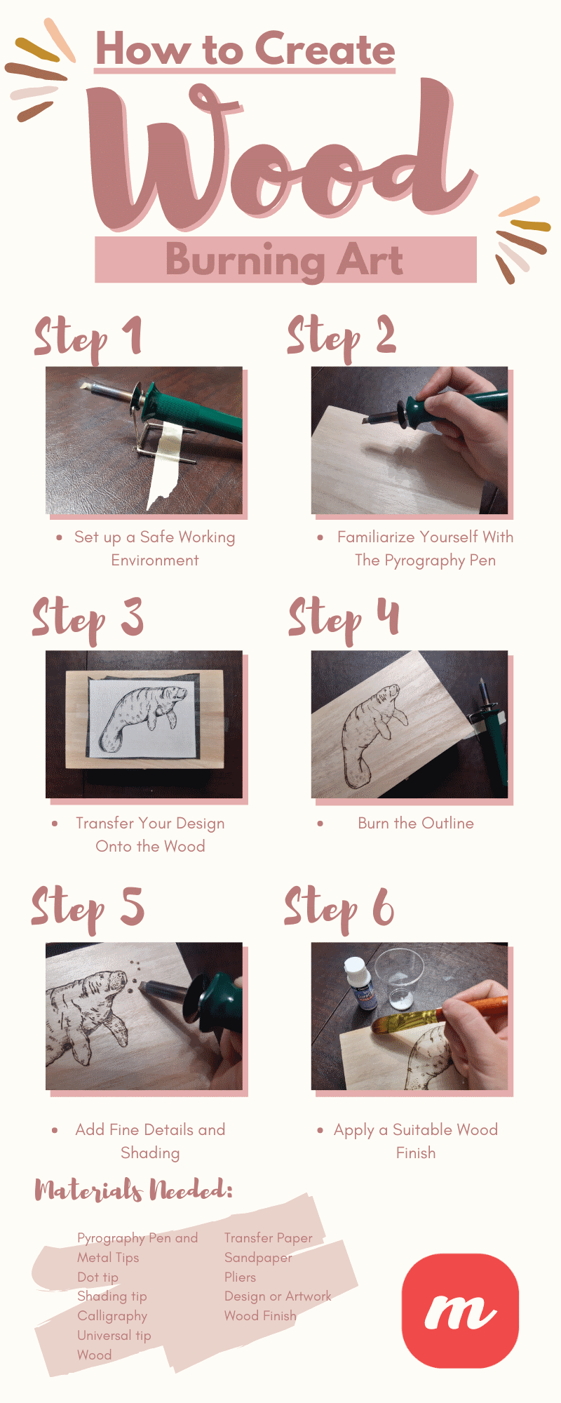 How to Create Wood Burning Art - infographic
