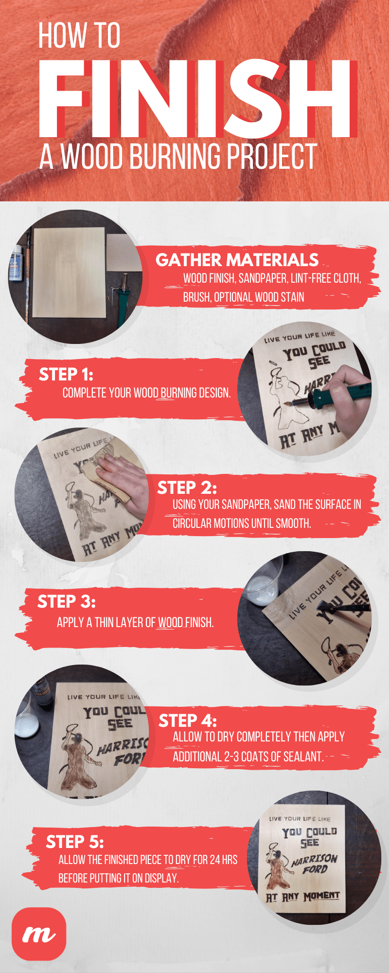 How to Seal and Finish a Wood Burning Project - Infographic