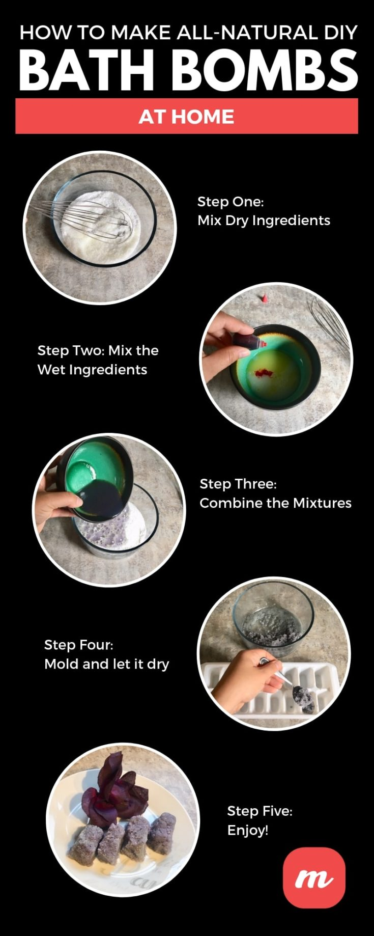 An infographic on How to Make All-Natural DIY Bath Bombs at Home