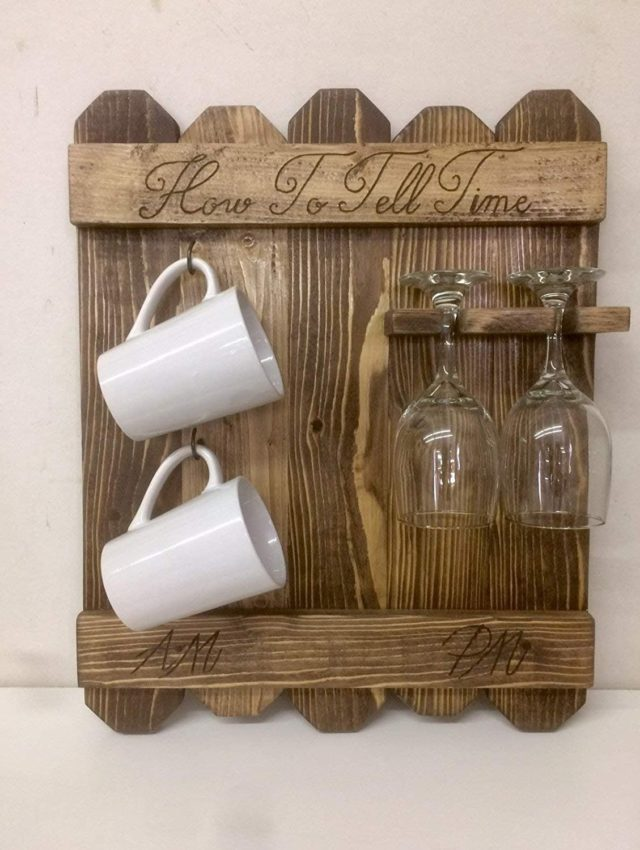 How to Tell Time, Rustic AM PM Sign, Coffee Mug and Wine Glass Rack, Coffee and Wine Sgn, Wood Burned Coffee Wine Rack