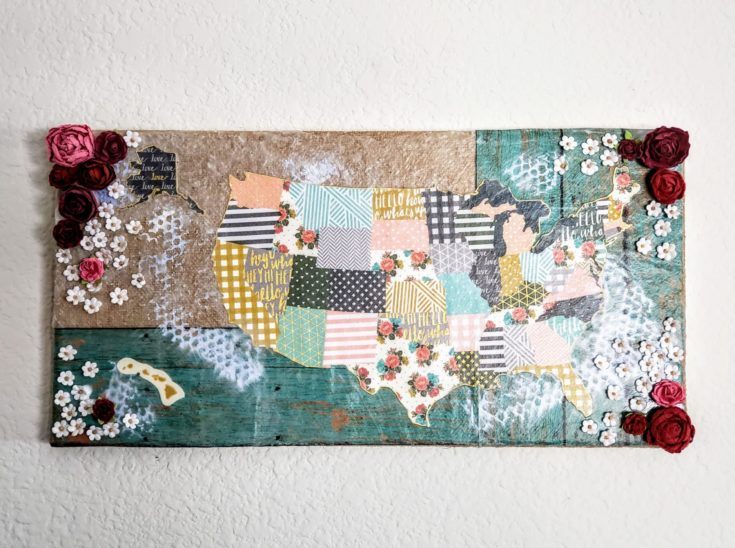 DIY decoupage hanged on a white wall