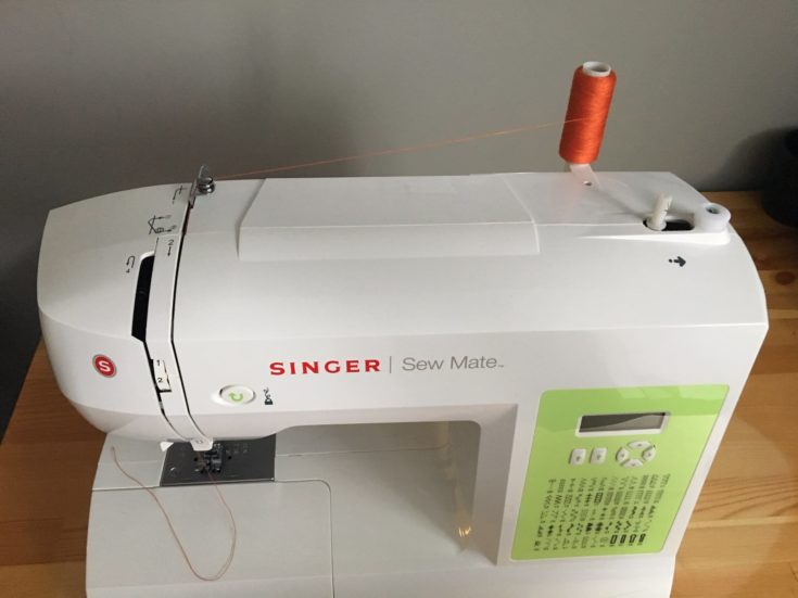 Top view of white Singer Sew Mate on the top of the table