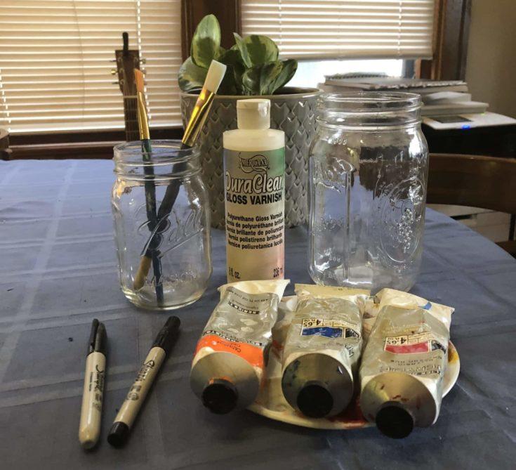 Jar+Acrylic craft paint+Paint brush +Gloss varnish + Sharpie marker