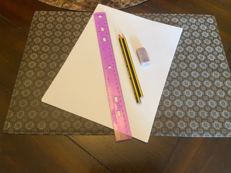 Ruler + Pencils 2B and 4B + Eraser+ 8x8 Drawing paper