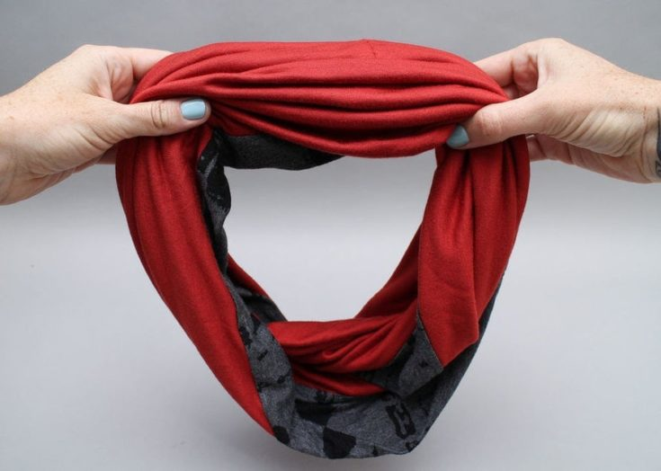 a Jersey Infinity Scarf red, grey, black color combination